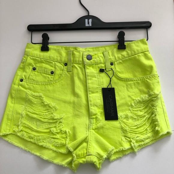 Carmar Pants - LF distressed vintage yellow denim shorts